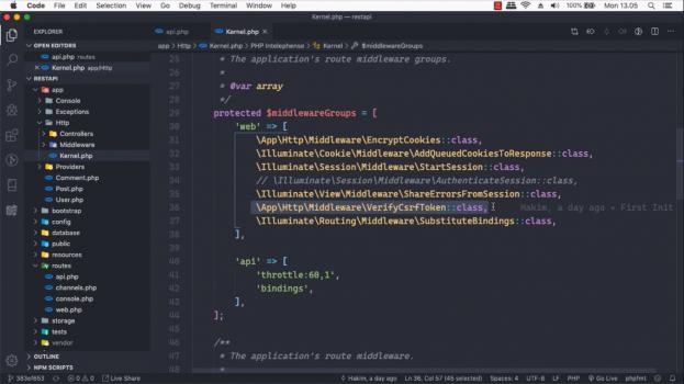 Screenshot Materi Kelas Online Membangun RESTful API dengan Laravel 6