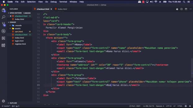 Screenshot Materi Kelas Online Membangun Website Toko Online Berbasis CodeIgniter