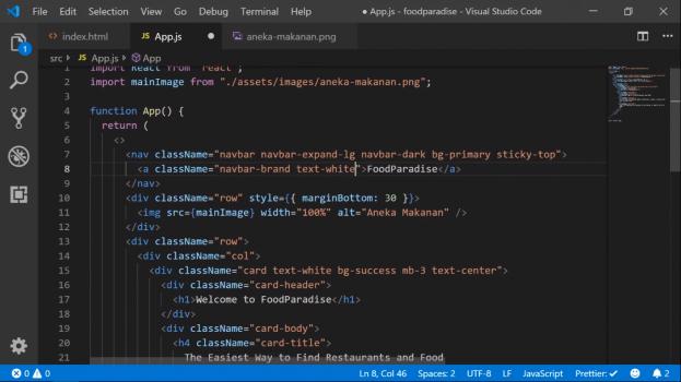 Screenshot Materi Kelas Online Membuat Web Kuliner Menggunakan React.js