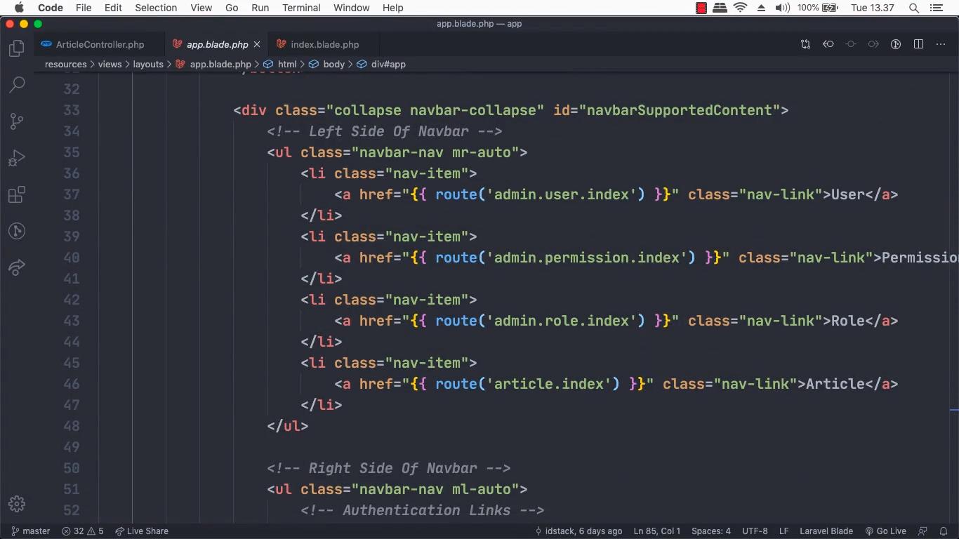 Screenshot Materi Kelas Online Membuat Role Management Menggunakan Laravel