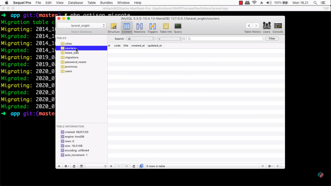 Screenshot Materi Kelas Online Membangun Aplikasi Cek Ongkir Menggunakan Laravel