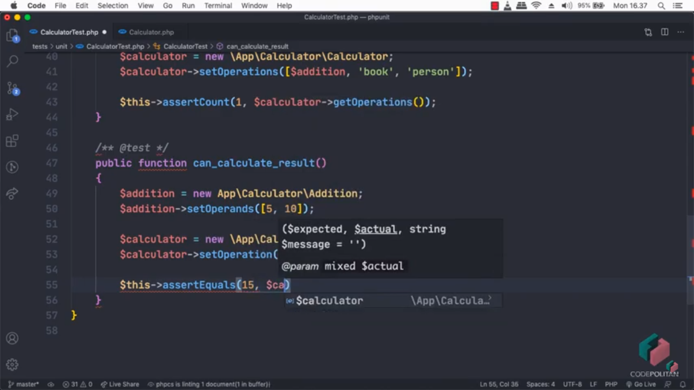 Screenshot Materi Kelas Online Pengenalan Automation Testing menggunakan PHPUnit