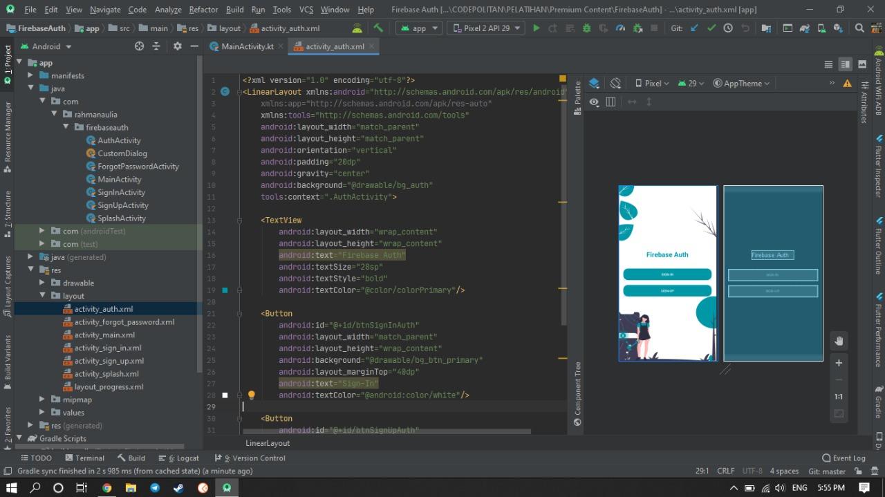 Screenshot Materi Kelas Online Implementasi Firebase Auth di Android